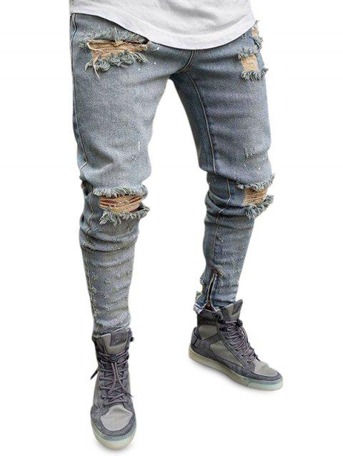 Zipper Decoration Ripped Jeans - BLUE GRAY M
