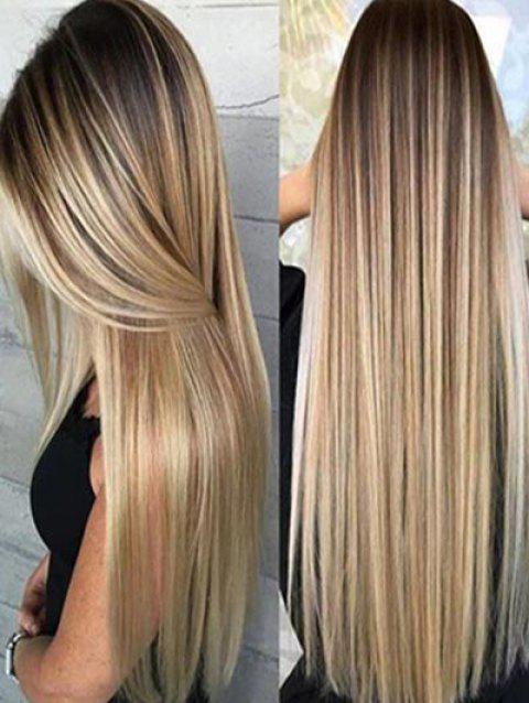 Synthetic Long Straight Hair Ombre Heat Resistant Full Wigs - multicolor A