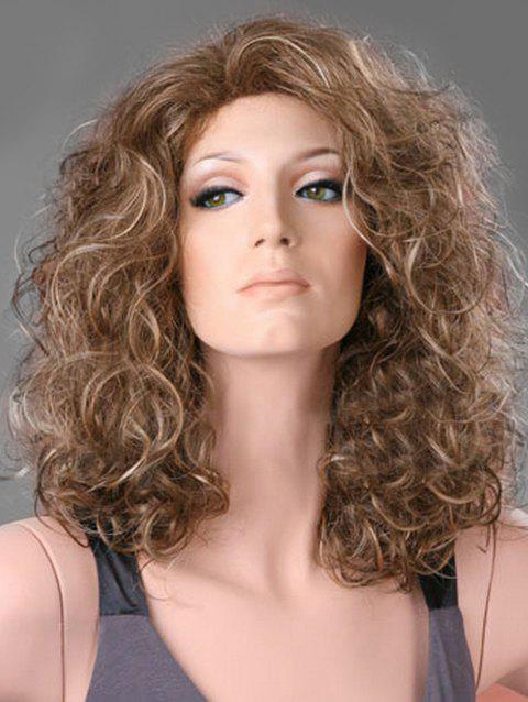 Medium Natural Curly Free Part Synthetic Wig - multicolor B