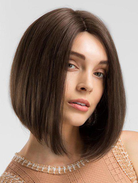 Middle Part Medium Straight Bob Synthetic Wig - BROWN
