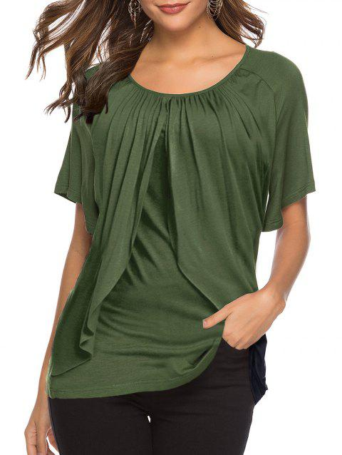 Overlay Round Neck Tee - ARMY GREEN XL