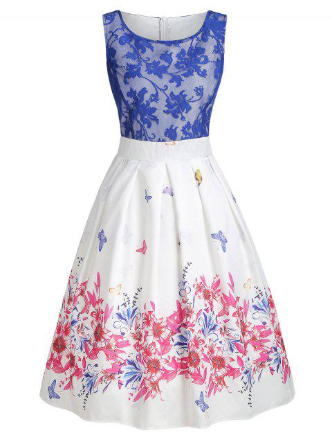 Lace Panel Butterfly Print High Waist Dress - multicolor 2XL