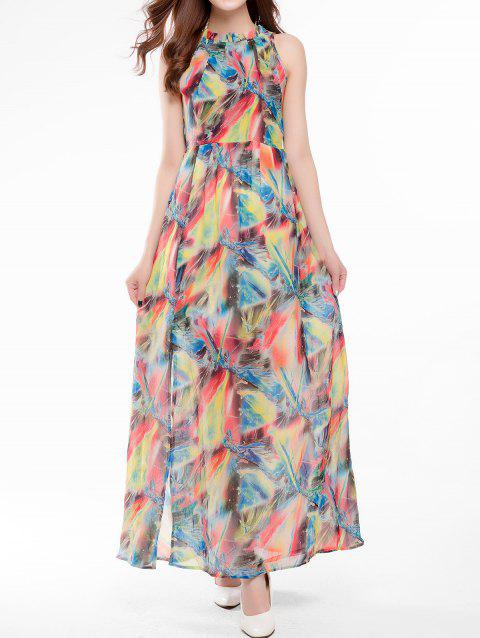 Maxi Robe Imprimée Col à Volants - multicolor 2XL
