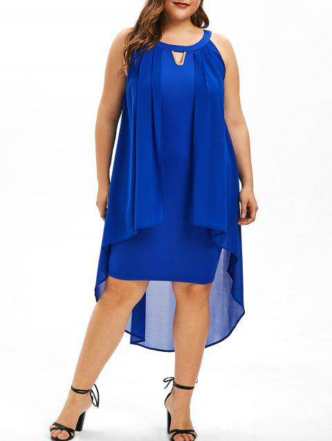 Plus Size Round Neck Overlay Shift Dress - BLUE 5X