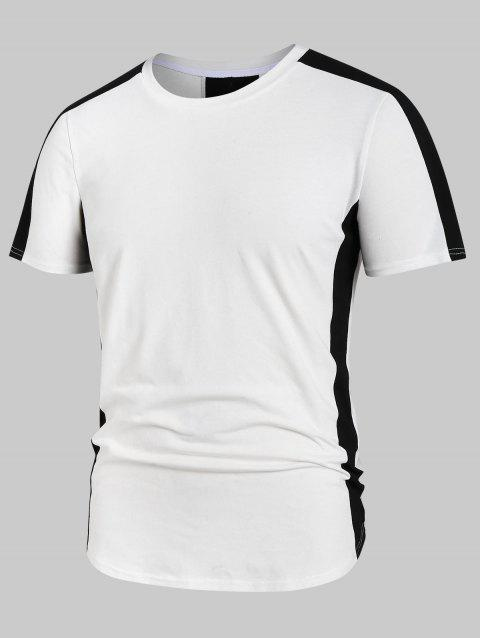 Round Neck Short Sleeve Color Block Tee - WHITE 2XL
