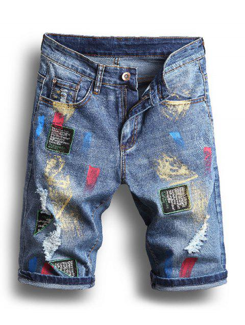 Painting Printed Ripped Jeans Shorts - DENIM BLUE 32