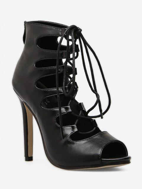 4d7734788c7c 2019 Lace Up Gladiator High Heel Boots In BLACK EU 36