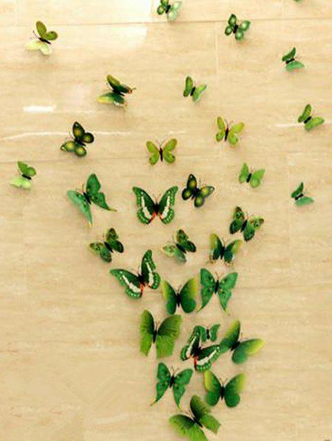 12 PCS Butterfly Design Wall Stickers - GREEN APPLE