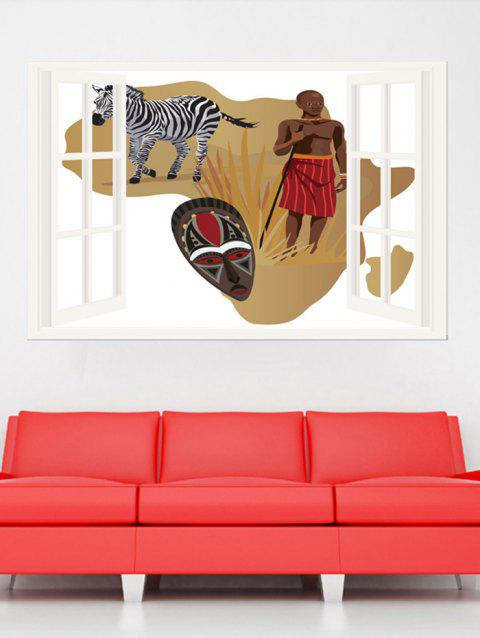 Simulation Window African Zebra Pattern Wall Stickers - BROWN 1PC X 20 X 29.5 INCH( NO FRAME )