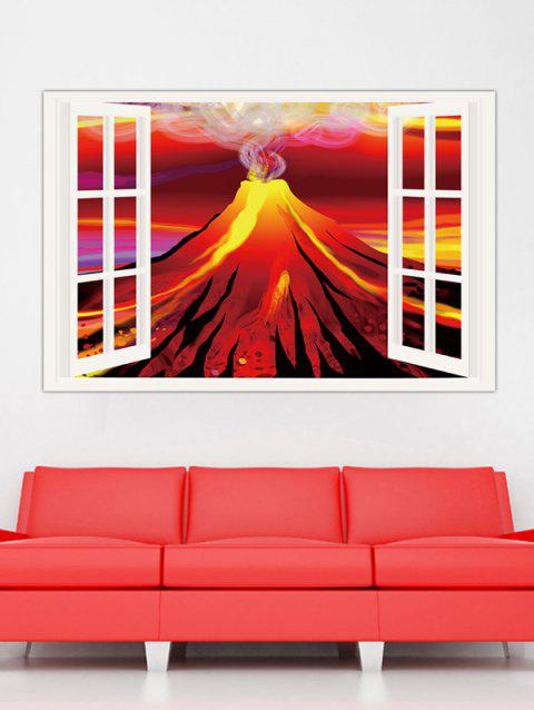 Simulation Window Volcano Pattern Wall Stickers - RED 1PC X  24 X 35 INCH( NO FRAME )