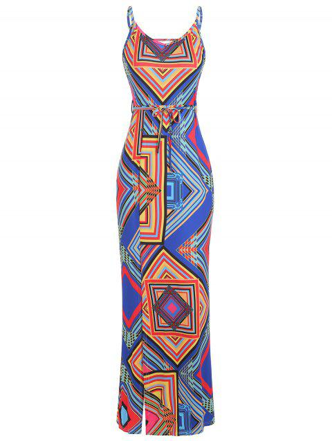 Geometric Maxi Backless Slit Bodycon Dress - multicolor L