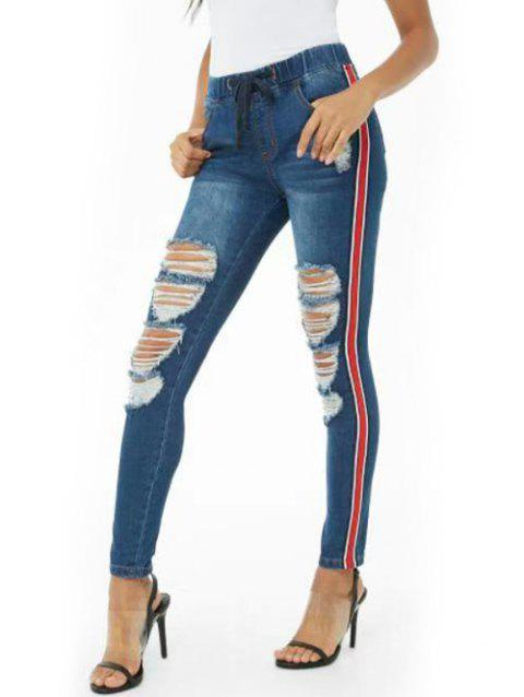 Ripped Side Striped Denim Jeans - DEEP BLUE S