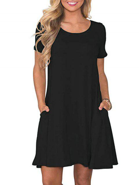 Short Sleeve Front Pocket Tee Dress - BLACK L