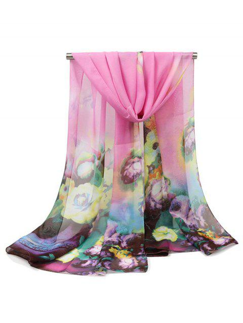 Oil Painting Flower Print Long Scarf - PINK