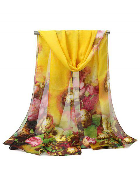 Oil Painting Flower Print Long Scarf - YELLOW