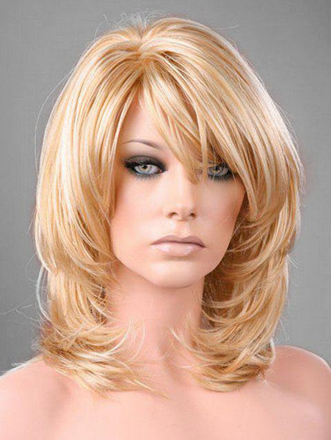 Side Bang Medium Straight Synthetic Wig - GOLD
