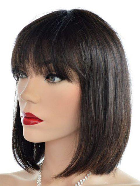 See-through Bang Short Straight Synthetic Wig - NATURAL BLACK