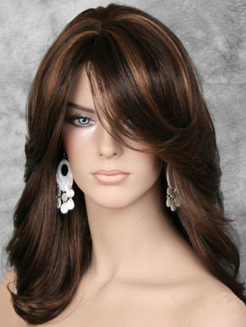 Fluffy Side Bang Straight Long Synthetic Wig - multicolor