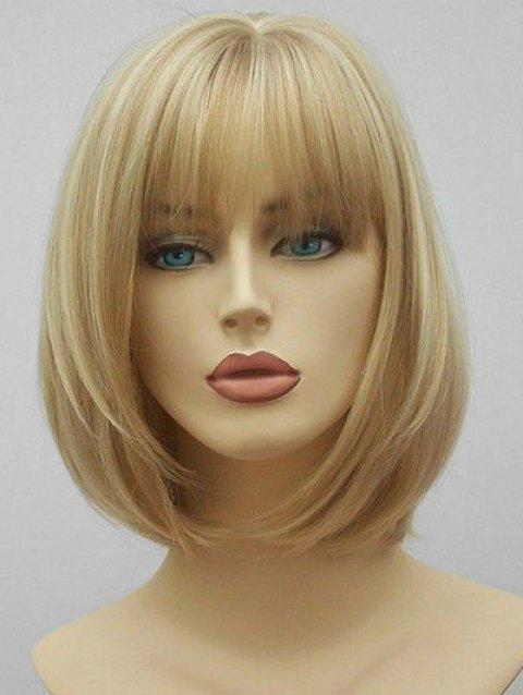 See-through Bang Short Straight Synthetic Hair - multicolor