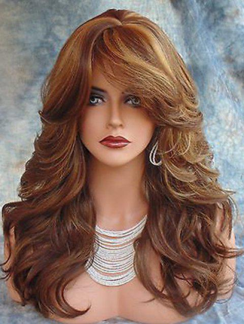 Long Side Fringe Colormix Wavy Synthetic Wig - multicolor