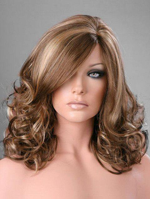 Side Part Curly Long Synthetic Wig - multicolor A
