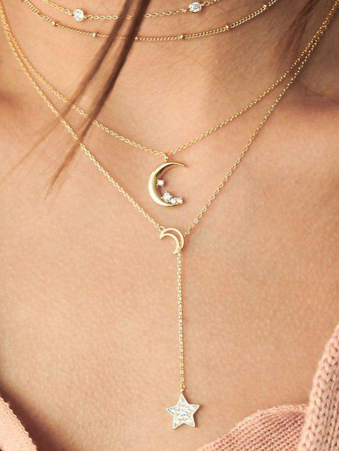 Star Moon Layers Lariat Necklace - GOLD