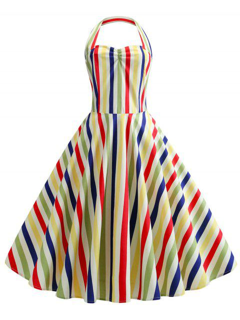 Striped Halter A Line Retro Dress - multicolor A L