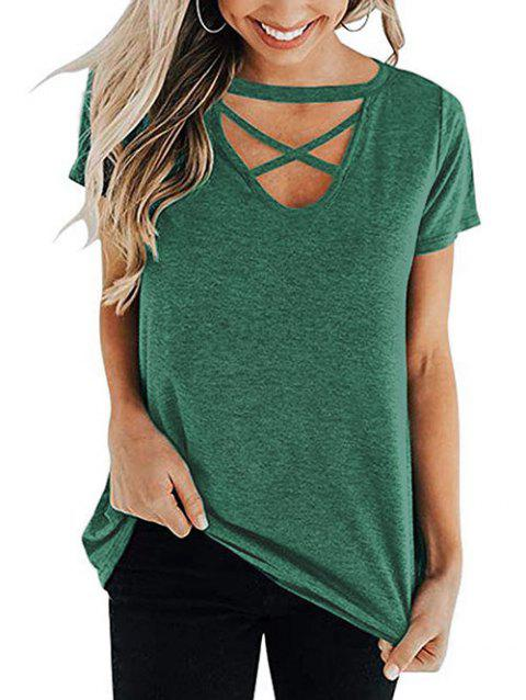 V Neck Criss Cross Casual Tee - ARMY GREEN S