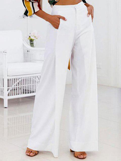 High Waist Plain Wide Leg Pants - WHITE XL