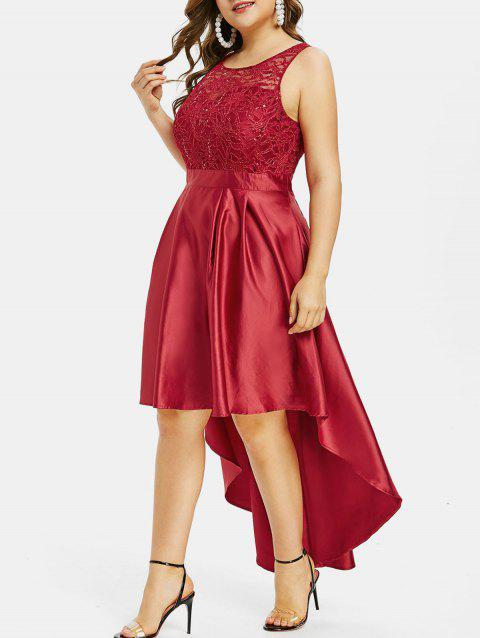 Plus Size Lace High Low Prom Dress - CHERRY RED L