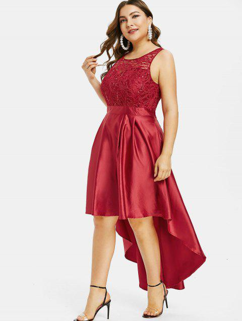 Plus Size Lace High Low Prom Dress