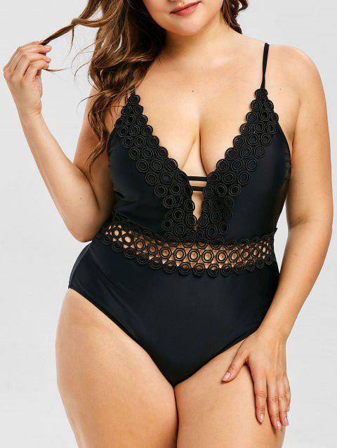 Plus Size Lace Insert Padded Swimwear - BLACK 5X