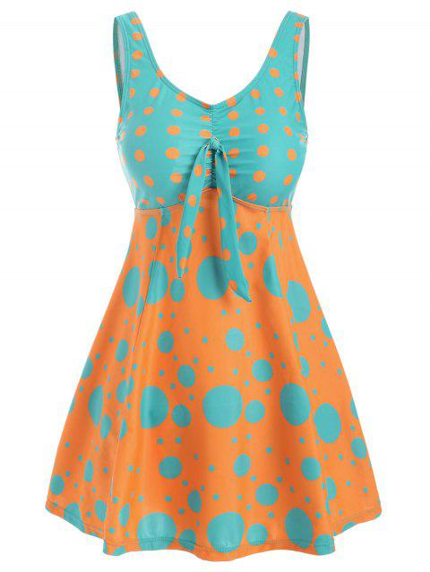 Polka Dots Swim Dress and Bikini Bottoms Set - multicolor 2XL
