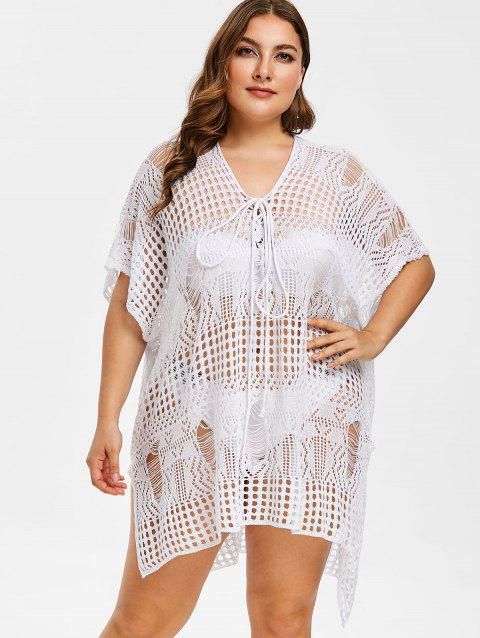 41 Off 2019 Plus Size Side Slit Crochet Cover Up Dress In White
