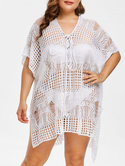 Plus Size Side Slit Crochet Cover Up Dress - WHITE ONE SIZE