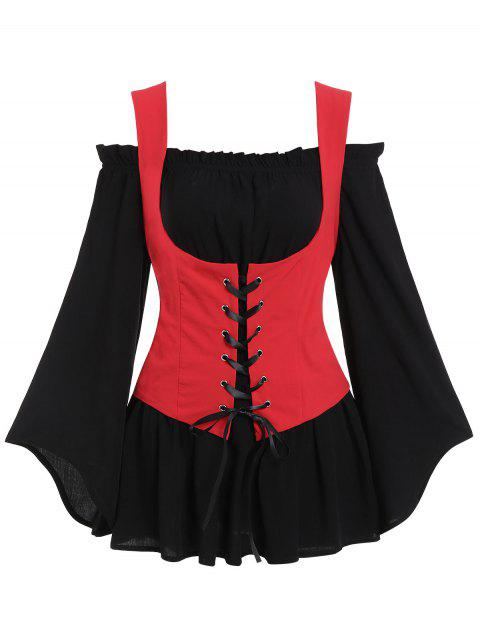 Off Shoulder Blouse and Lace-up Waistcoat Set - RUBY RED XL