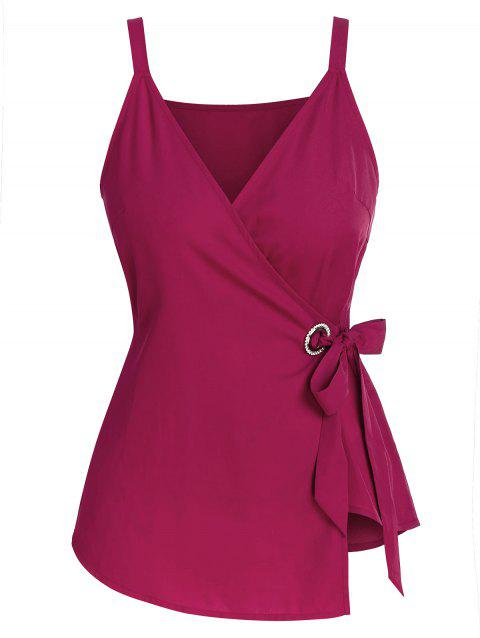 Plus Size Solid Color Self Tie Wrap Tank Top - CHERRY RED 4X