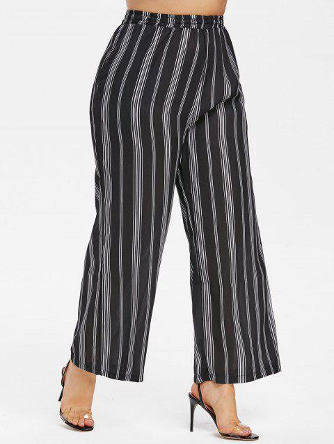 Striped Panel Plus Size Wide Leg Pants - BLACK 3X