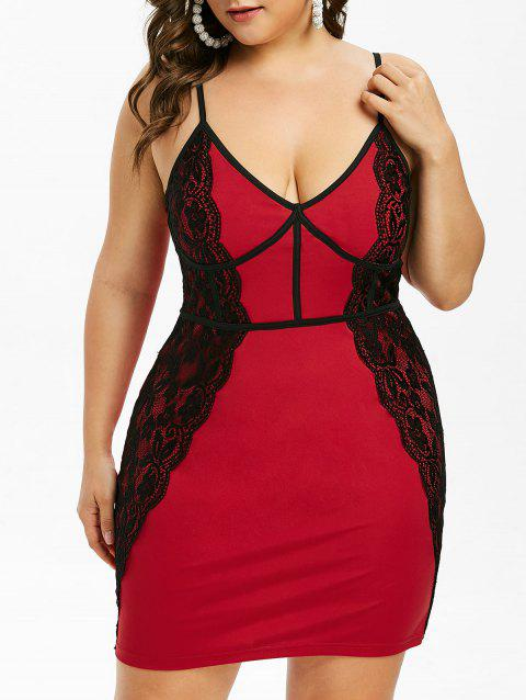 Plus Size Spaghetti Strap Lace Insert Bodycon Dress - LAVA RED L