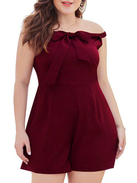 Plus Size Off The Shoulder Bowknot Romper - RED WINE 4X