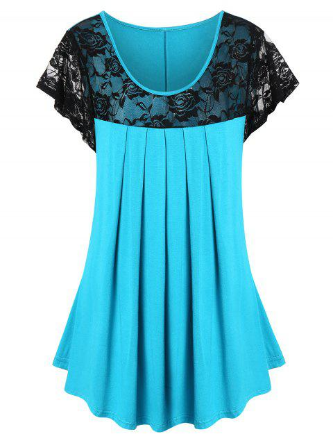 Plus Size Lace Panel See Thru Pleated T Shirt - DEEP SKY BLUE 2X