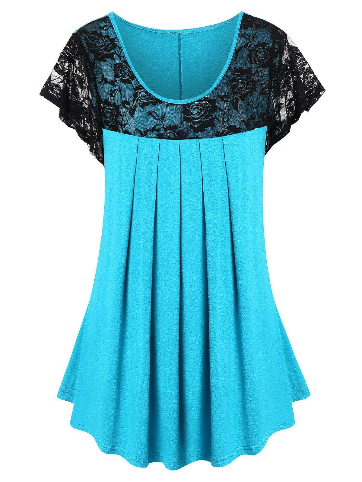 Plus Size Lace Panel See Thru Pleated T Shirt - DEEP SKY BLUE 1X