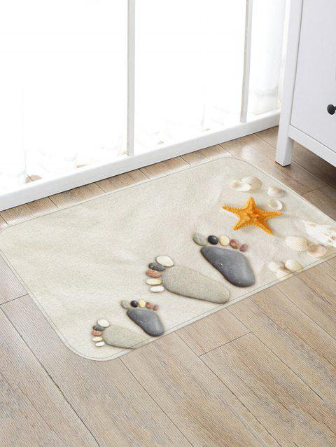 Beach Stone Footprint Starfish Print Non-slip Area Rug - multicolor A W20 X L31.5 INCH