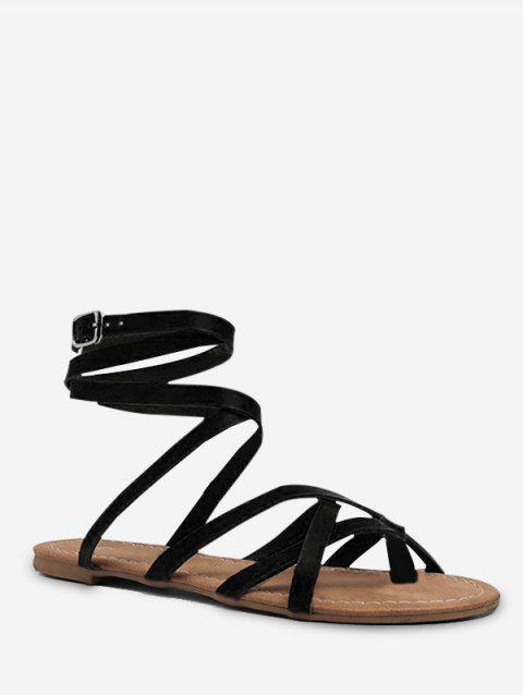Toe Loop Lacing Gladiator Flat Sandals - BLACK EU 40