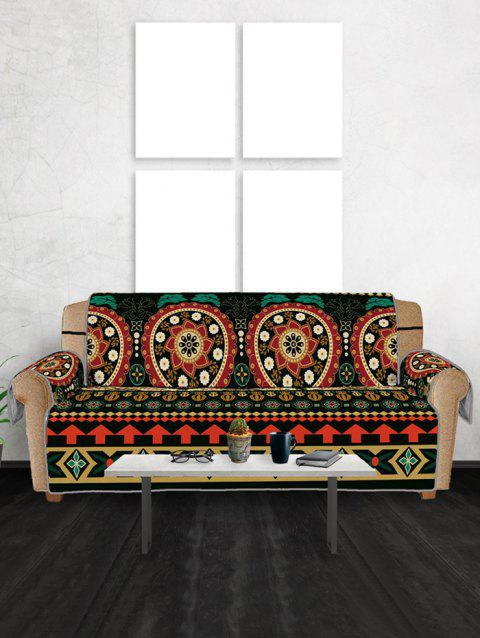 Geometry Flower Pattern Couch Cover - multicolor THREE SEATS