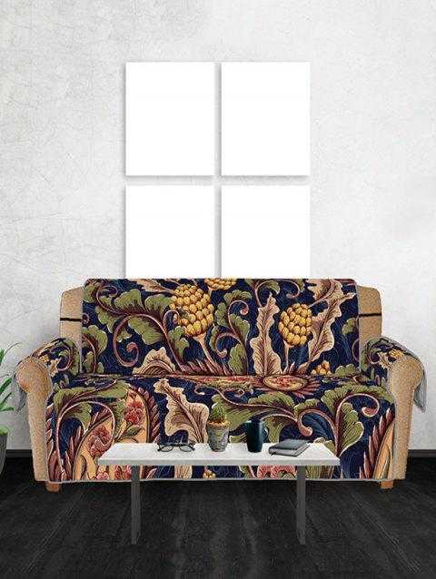 Elegant Oil Painting Apricot Tree Pattern Couch Cover - multicolor THREE SEATS