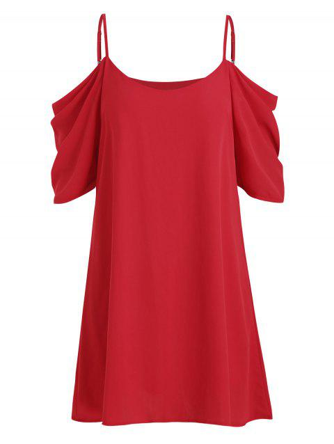 Cold Shoulder Chiffon Draped Dress - LAVA RED M