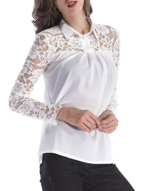 Buttoned Lace Panel Semi Sheer Shirt - WHITE M