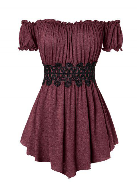 Plus Size Lace Insert Off The Shoulder T Shirt - RED WINE L