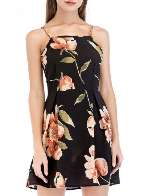 Flower Print Spaghetti Strap Mini Dress - BLACK XL